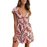 Summer Dresses for Women with Sleeves Knee Length, Red Sexy Dresses for Women Velvet,Womens Boho Floral Summer Party Evening Beach Short Mini Dress Sundress