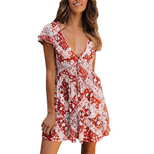 Rakkiss Women Dress Boho Dress Print Dress Mini Dress Ruffled Shirt Low Collar Shirt Red