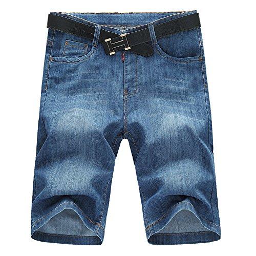 SUSIELADY Men's Denim Shorts 5 Pocket Casual Straight Regular Fit Stretch Moto Biker Jean Pants for Men 2018 Summer 5 Pocket Distressed Denim Jeans