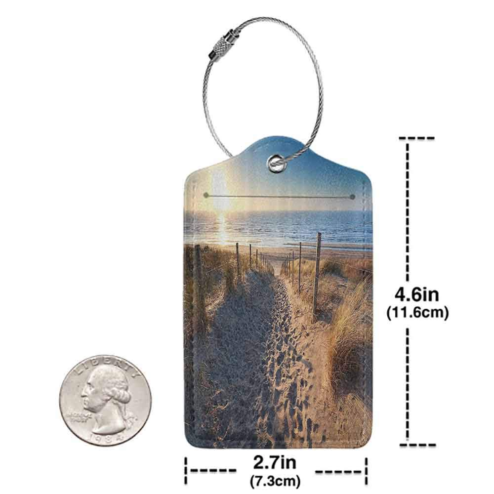 Multicolor luggage tag Seaside Decor Collection Walkway to Beach in North Sea Zandvoort Aan Zee North Holland Netherlands Image Pattern Hanging on the suitcase Ivory Blue W2.7 x L4.6