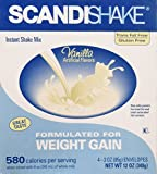 Scandishake Weight Gain Instant Shake Mix Powder, Vanilla, 3 Ounce Packet – Box of 4 For Sale