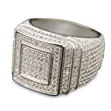 TVS-JEWELS Hip Hop Style Double Square Men's Ring W/ White Platinum Plated All Around Cubic Zirconia (12.75)