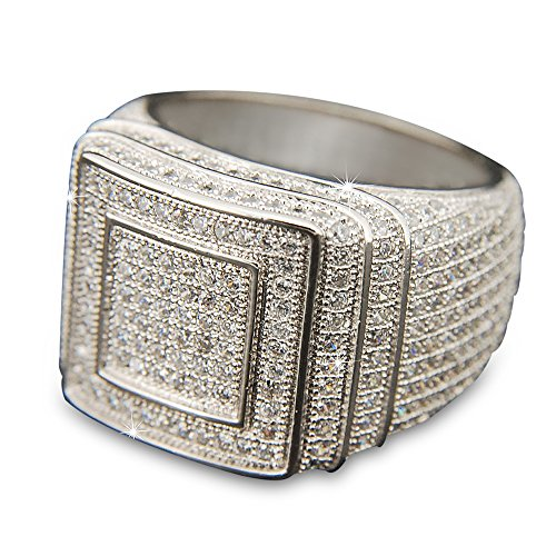 TVS-JEWELS Hip Hop Style Double Square Men's Ring W/ White Platinum Plated All Around Cubic Zirconia (8) by TVS-JEWELS