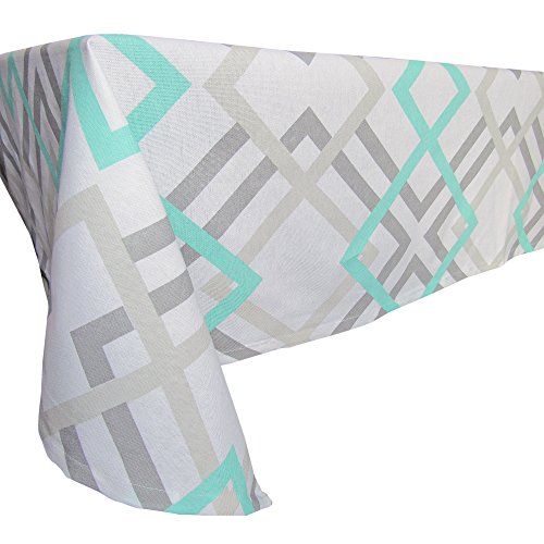 Gray Geometric Cotton Tablecloth - Crabtree Collection - Gray/Turquoise Geometric (60 x 84)