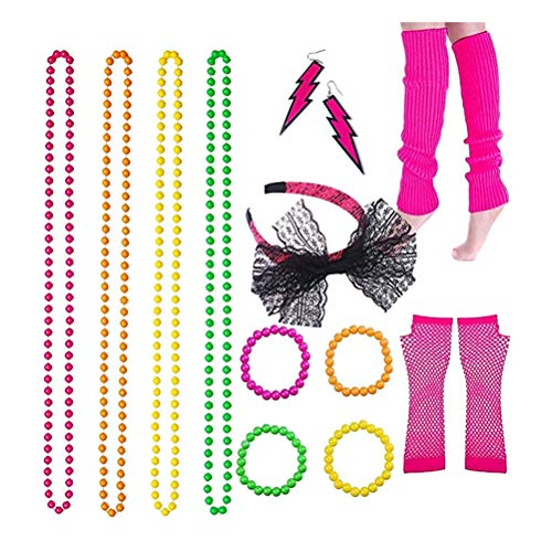 STOBOK 6pcs 80s Party Costume Outfit 80s Fancy Dress Neon Bead Necklace Neon Bracelet Earrings Fishnet Gloves Leg Warmers Headband
