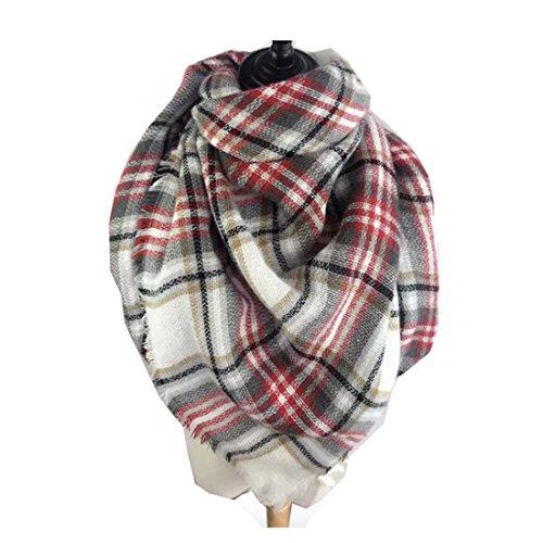 Women's Cozy Tartan Scarf Wrap Shawl Neck Stole Warm Plaid Checked Pashmina (Gray White Red)