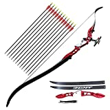 adult starter bow and arrow set - Tongtu Archery Takedown Recurve Bow for Starters 64inch 20 24 28 32 LBS with 12pcs Arrows Traditional Horse Bow Longbow Targeting Practice Shooting Games (Red, 28LBS)