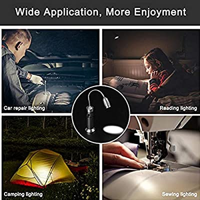 T6 LED Rechargeable Work Light with Flexible Gooseneck and Magnetic Base,Table Book Reading Lamp for Barbeque, Car Repair, Home Using and Emergency, Rechargeable Battery and Wall Charger Included