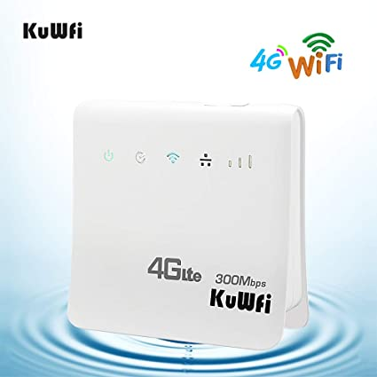 KuWFi Routeur Wi FI, Débloqué 300Mbps 4G LTE CPE Mobile WiFi Routeur sans Fil pour la Fente de Carte de SIM avec Le Soutien de Port de LAN Travail