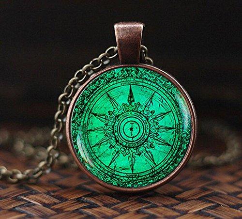 Vintage Compass pendant, Vintage Compass necklace, turquoise color necklace, Art gift for men for women, glass dome ()