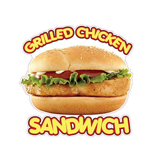 Grilled Chicken Sandwich Concession Restaurant Food Truck Die-Cut Vinyl Sticker 10 inches