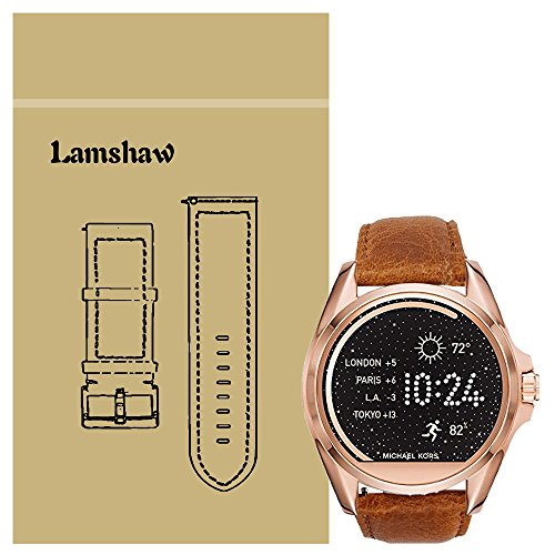 365a82b55fa4 Lamshaw Leather Strap Replacement Band for Michael Kors Smartwatch Strap  (leather-Brown)