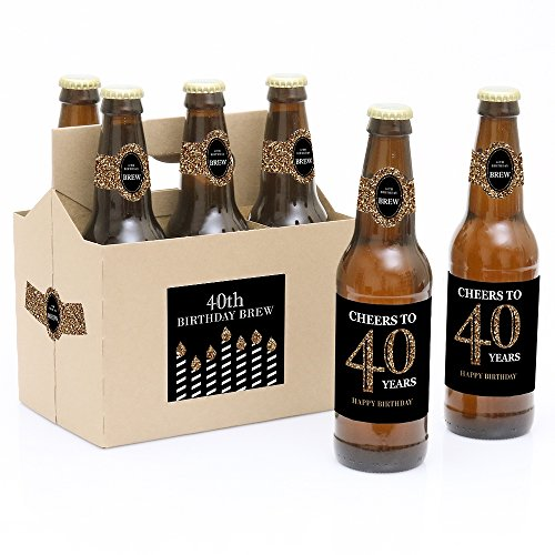 Black Label Beer - Adult 40th Birthday - Gold - 6 Beer Bottle Labels with 1 Beer Carrier