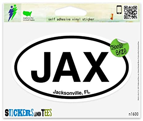 Jax jacksonville fl florida oval car sticker indoor outdoor 5