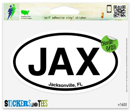 Amazon com jax jacksonville fl florida oval vinyl car bumper window sticker 5 x 3 automotive