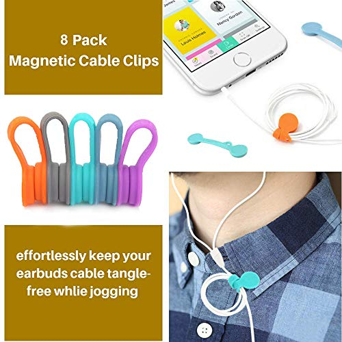 LecLooc 8 PCS Magnetic Earphone Winder Magnetic Cord Winder Wrap for Headphones/Date USB Cable,Soft Silicone Earphone Cable Clips Organizer for iPhone/iPad/Galaxy, Also Use as Bookmarks/Keychain