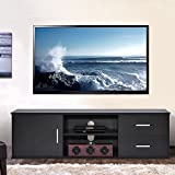 Ej. Life Wooden Single-door TV Stand TV Unit Storage Console with two Drawer, Black