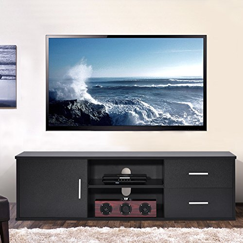 Wooden Single-door TV Stand TV Unit Storage Console with two Drawer, Black (Out Step Single Pull)