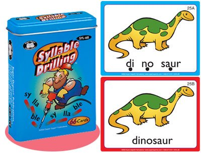 Super Duper Publications Syllable Drilling Fun Deck Flash Cards Educational Learning Resource for Children (Best English Novels To Improve Vocabulary)