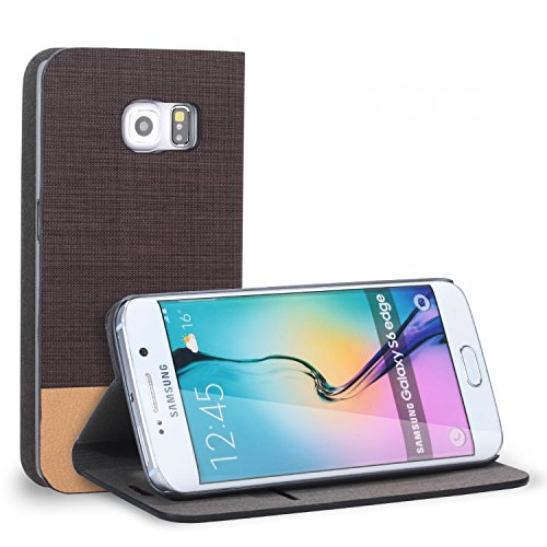 Galaxy S6 Edge Case, NOOT PRODUCTS® [Ultra Slim] Galaxy S6 Edge Wallet Case [Lifetime Warranty] Premium Slim-Fit Protective Nylon Folio Case with Card Slot Holster and Premium Grade TPU Casing [Flip Hard Case] Cover for Samsung Galaxy S6 SM-G925 2015 Model