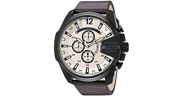04365c454a6d Diesel de los hombres dz4422 Mega Chief reloj de piel color café  Diesel   Amazon.com.mx  Relojes
