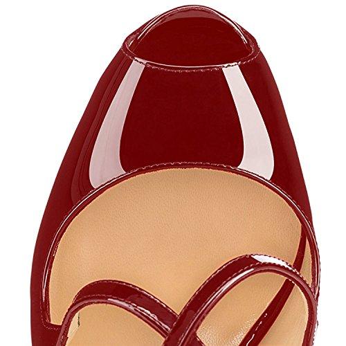 Peep de Oficina Vino Toe Plataforma Tacón Aguja Crossstrap Tacones 15CM para Mujer Mujer Zapatos Fiestas 4CM ELASHE XZwAT18A