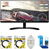 Cheap LG 34″ IPS WFHD Ultrawide Freesync Monitor 2017 Model (34UM60-P) with 2 x 6ft High Speed HDMI Cable, Screen Cleaner for LED TVs & Transformer Tap USB w/6-Outlet Wall Adapter and 2 Ports