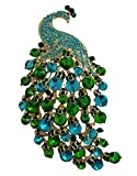 TTjewelry Art Nouveau Gorgeous Peacock Crystal Rhinestone Brooch Pins (Green)