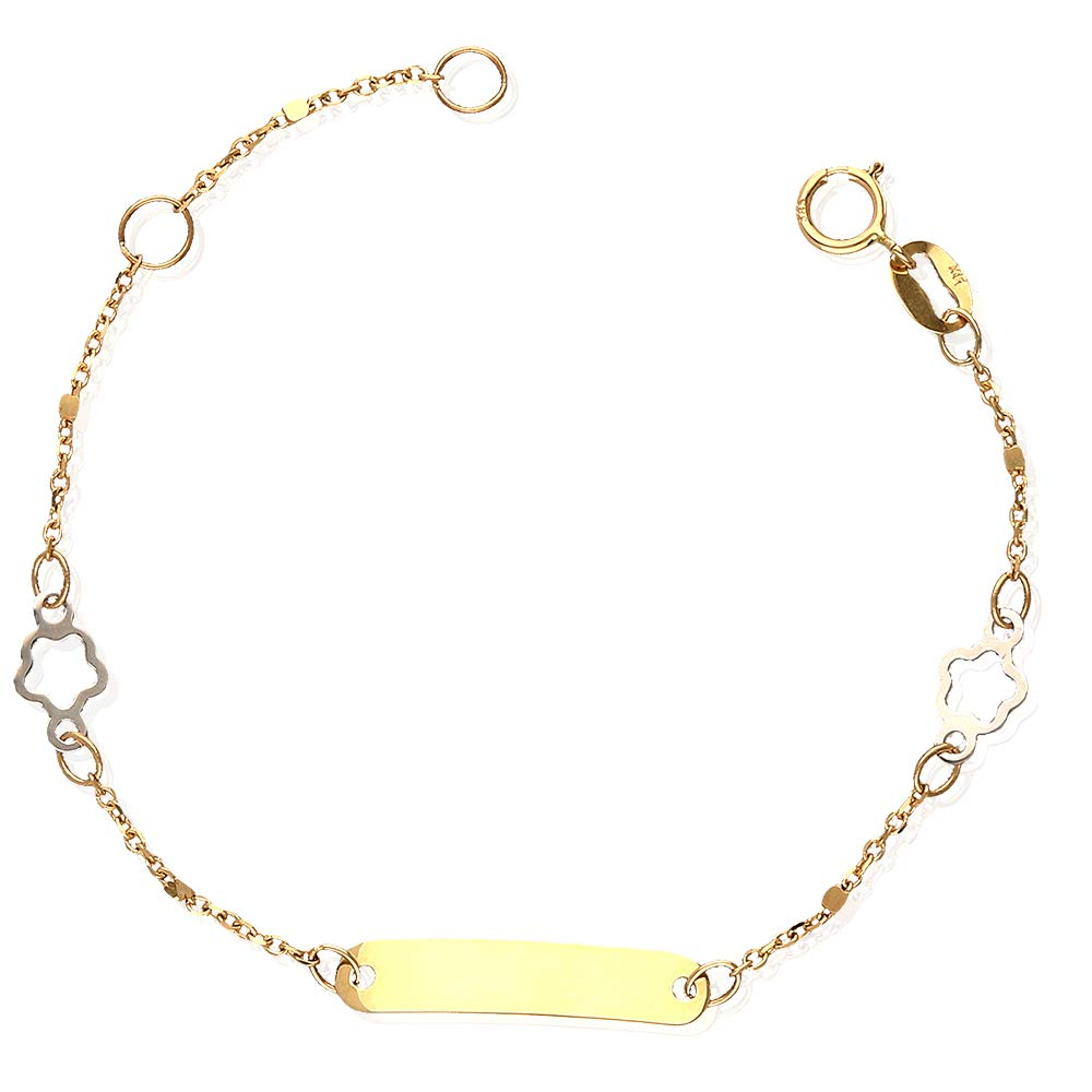 14k Yellow Gold Flower Cable Link Baby Kid's ID Bracelet Adjustable 4.5'-5.25' WJD Exclusives WJD1202
