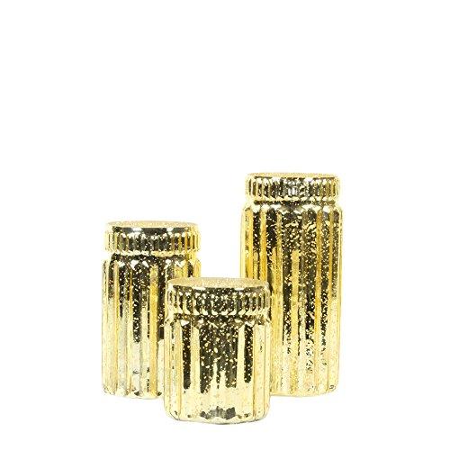 Koyal Wholesale Ribbed Mercury Glass Vases, Bulk Set of 3, Mercury Vases for Flower Centerpieces, Centerpiece Jars for Candle Votives, Centerpiece Arrangements, Indoor Outdoor Bud Vases (Gold)
