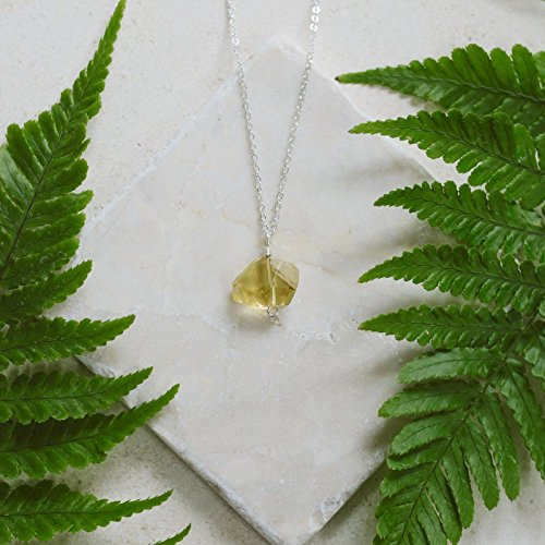 - Chunky citrine nugget crystal pendant necklace in 925 sterling silver - 18