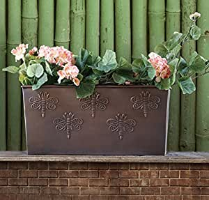 Store Indya, Decorativo bronce jardin maceteros flor planta poseedor soporte para macetas de flores con mariposa Diseno para al aire libre interior utilizar casa herramientas de jardineria Decoracion accesorios