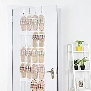 "MaidMAX Over the Door Organizer, Over Door Hanging Organizer with 24 Clear Pockets and 4 Hooks for Shoes Closet Pantry Cabinet Door (19"" W x 64"" H)"