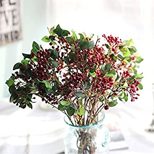 Vovomay Artificial Flowers Leaf, Fake Flowers Silk Plastic Berry Vinegar Simulation Leaves- Bridal Wedding Bouquet for Home Garden Party Wedding Decoration 50