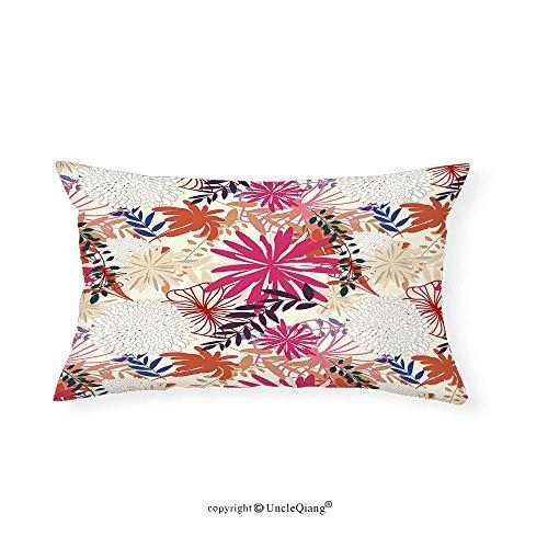 VROSELV Custom pillowcasesFloral Flourishing Vibrant Flowers Leaf Petals Blossoms Essence Fragrance Themed Image for Bedroom Living Room Dorm Multicolor(16''x24'') by VROSELV