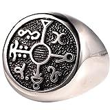 black magic ring - Protection Seal of Solomon Kabbalah Mens Magic Symbol Stainless Steel Mens Compass Ring