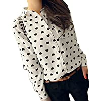 Litetao Womens T-shirt Fashion Long Sleeve Chiffon Ladies Love Heart Sweet Blouse