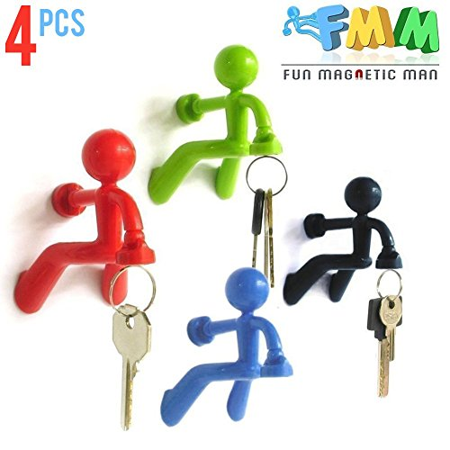 Fun Magnetic Man 4 pcs Fridge Magnets Refrigerator Key Holder Magnetic Man Keychain with Strong Magnet and Wall Climbing Man Design Holds Up to 1.4 lbs for Home Office Gift Decoration