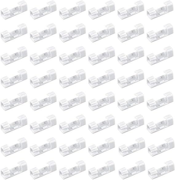 Rychui Lot de 60 clips de c/âble transparents auto-adh/ésifs pour la maison et le bureau noir