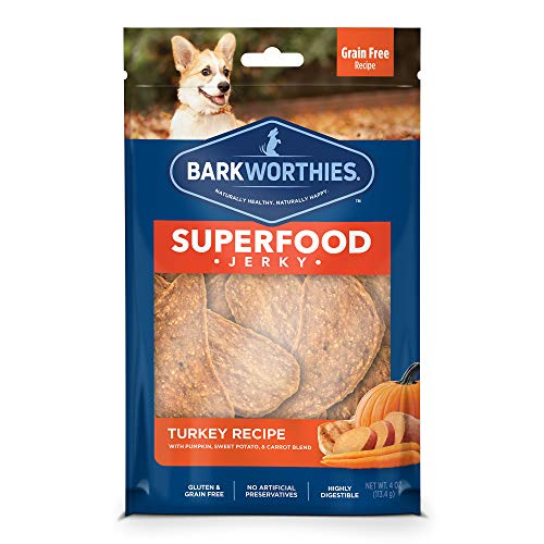 Barkworthies All-Natural Superfood Dog Treats - Turkey with Pumpkin, Sweet Potato, and Carrot Jerky Dog Treats (4 oz.) - Easily Digestible & Low-Fat Dog Chews