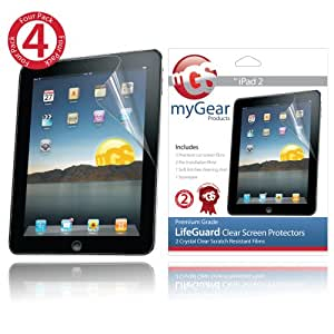 myGear Products LifeGuard Screen Protector Films for Apple iPad 2 & The new iPad 3 3rd Generation - (4-Pack) Clear NEWEST MODEL &