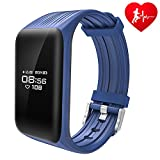 Dawo Fitness Tracker Watch IP68 Waterproof Activity Wireless Smart Bracelet with Continuous Heart Rate Monitor Step Calorie Sleep Counter Bluetooth Wristband Pedometer Sports Smart Band(Blue)