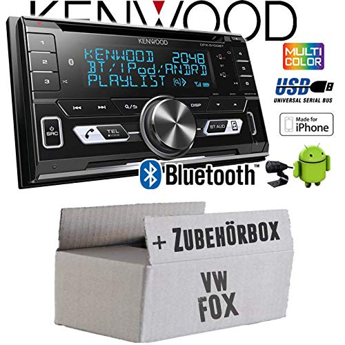 VW Fox - Autoradio Radio Kenwood DPX-5100BT - 2-DIN Bluetooth USB Apple Android Autoradio PKW KFZ Paket - Einbauzubehö r - Einbauset JUST SOUND best choice for caraudio