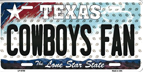 Cowboys Texas State Background Novelty Metal License Plate Tag (Cowboys Fan)