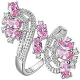Fashion 925 Silver AAA Zircon Crystal Ring Charm Women Wedding Jewelry 3 Color (9)