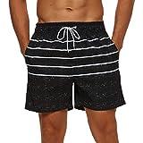 SILKWORLD Men's Quick Dry Swimming Trunks with Pockets Swimwear Beach Shorts, Grey Black/White Stripe, Large
