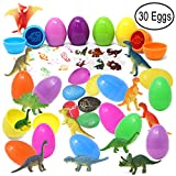 Joyin Toy 30 Pieces Prefilled Easter Eggs With Dinosaur Figures, Hatch and Grow Dinosaurs, Dinosaur Tattoo and Stamps For Easter Basket Stuffers Party Favors