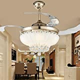 Lighting Fans Invisible Ceiling Fans 42 Inch Crystal Ceiling Fans Light with Remote, 4 Transparent Retractable Blades Fans Chandelier With LED Three Color Lights for Indoor Outdoor (Gold)