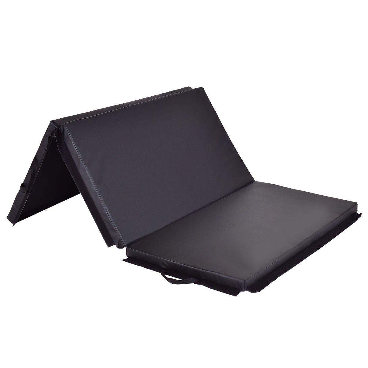 USA_Best_Seller 6フィート x 4フィート 素敵な三つ折りジムマット 厚みのある折りたたみパネル 快適なタンブリング、エクササイズプログラム、ピラティス、ストレッチ、ヨガ、格闘技、体操、デイケアアクティビティ ブラック