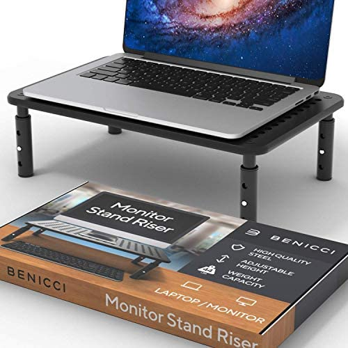 Deluxe Metal Laptop Stand for Desk – Adjustable 14″ x 9″ Black Monitor Stand Riser – Portable Cooling for Laptops or Screens – The Perfect Home Office Organizer for Printers, Gaming and Accessories
